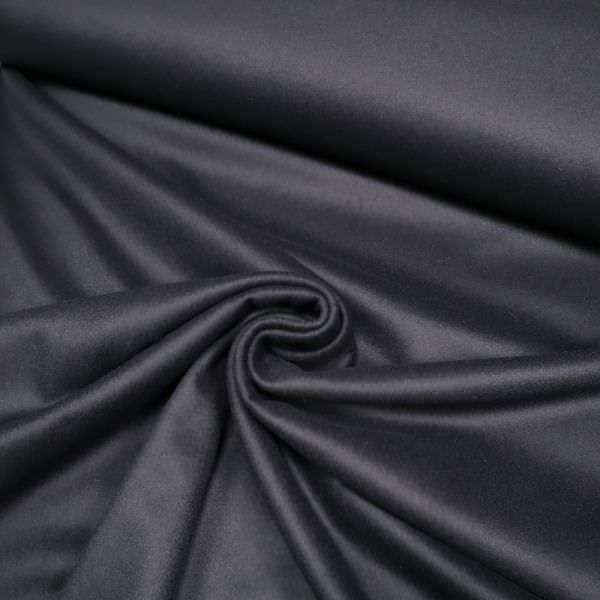 Kaschmir- Mantelvelour uni - nachtblau