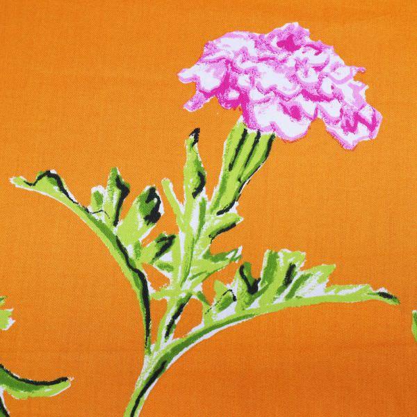 Baumwoll- Satin Ringelblume - orange/weiss/fuchsia/hellblau/grün/rot (Nur 70cm/breit ! )