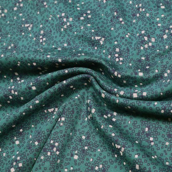 Stretch Baumwolljersey kleines Muster & angeraut - dunkelgrün/hellgrau/nachtblau Extra breit !