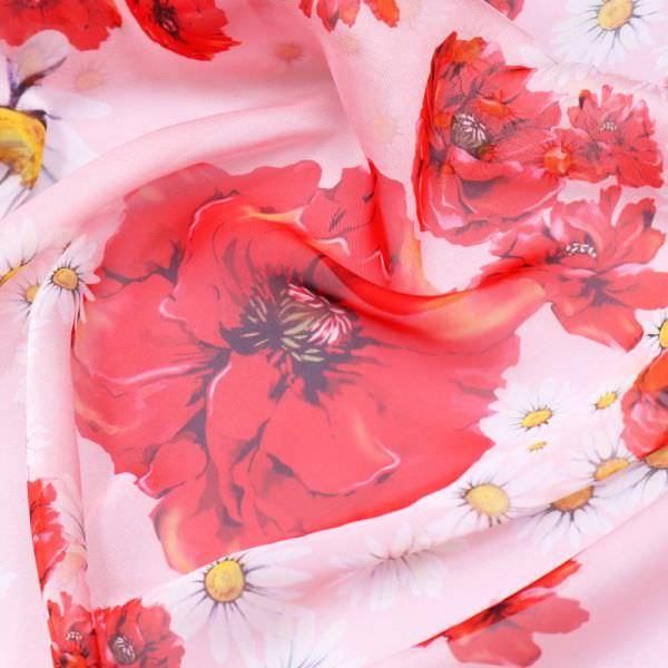 Chiffon Mohnblumen - rosé/rot/weiss/gelb/schwarz