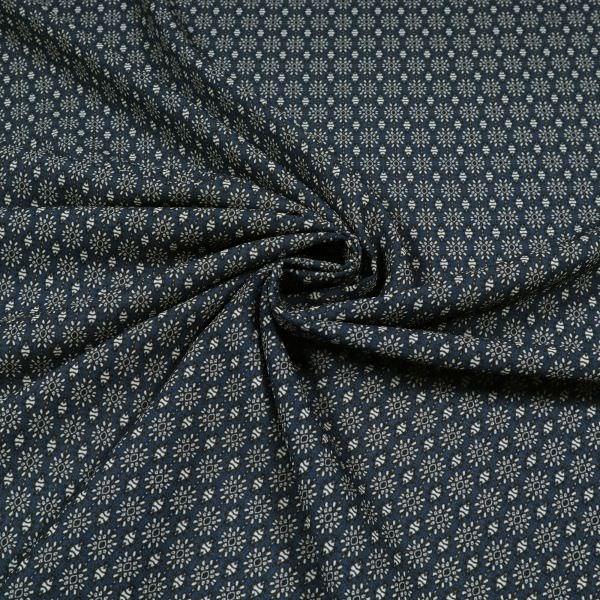 Crêpe Chiffon mit kleinem Muster - dunkelblau/wollweiss/schwarz