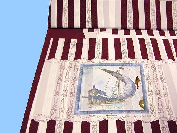 Blusen- und Kleiderstoff mit Schiffmotiv - weiss/bordeaux/blau/beige/ocker/braun