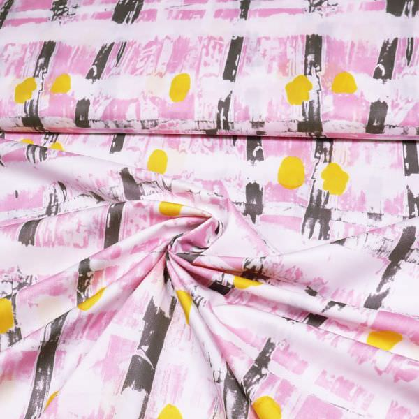 """Baumwoll- Popeline """"Abstrakte Art""""- weiss/rosé/taupe/gelb"""