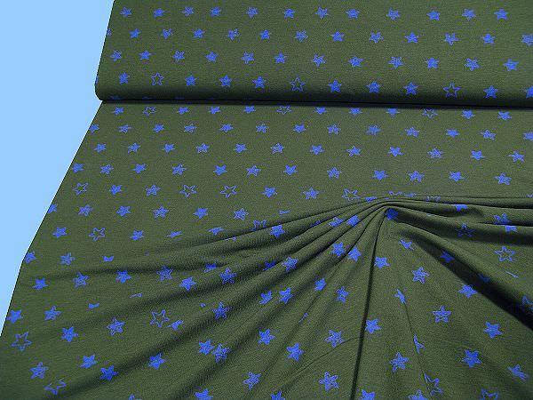 Baumwolljersey mit Sternen - dunkelgrün/blau
