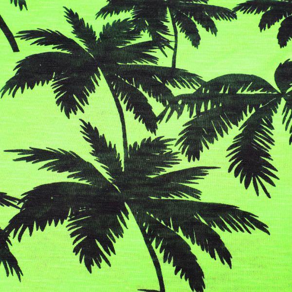 Feinjersey Palmen - neongrün/schwarz