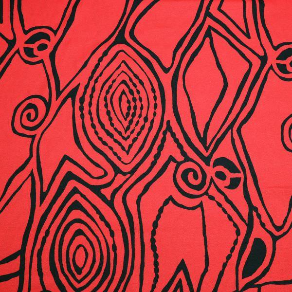 Viskose- Crêpe Georgette mit Ethno-Muster - rot/schwarz