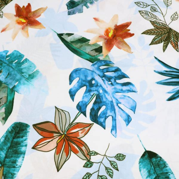 Viskosestoff Blumen & Blätter - wollweiss/petrol/dunkelgrün/terrakotta