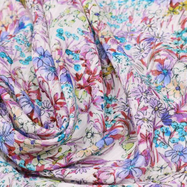 Viskose Chiffon bunte Blumen & Lurexstreifen - weiss/flieder/türkis/gelb/gold/silber