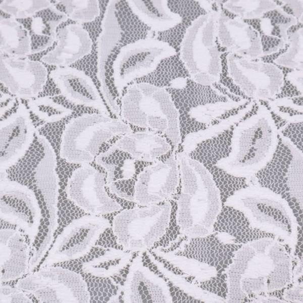 Stretch Tüll-Spitze mit Blumen-Motiv uni - wollweiss