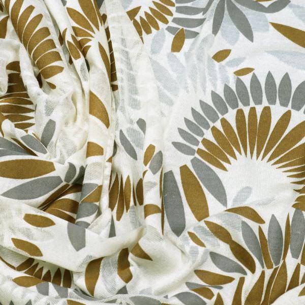 Feinstrick-Jersey Ausbrenner & Blätter - wollweiss/goldbraun/silbergrau