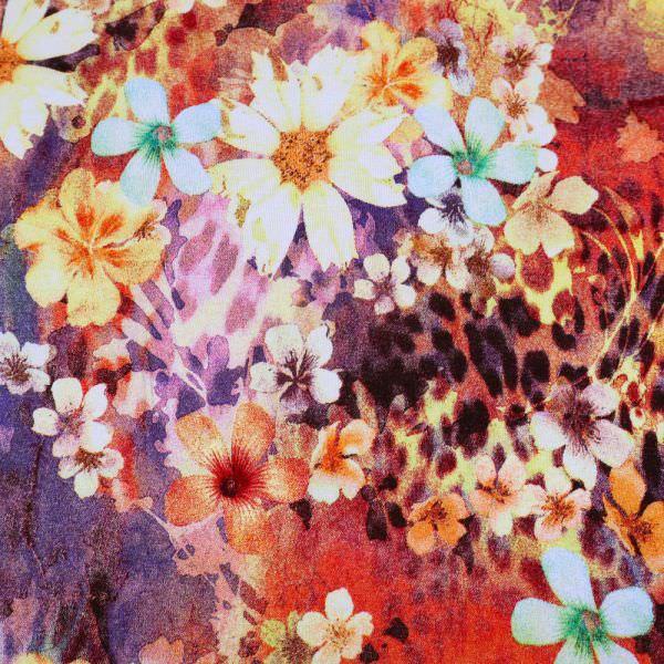 Viskosejersey Blumen & Leoparden-Motiv - gelb/rot/orange/brombeere/grün