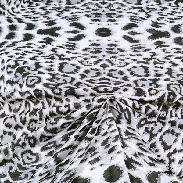Baumwolljersey mit Leoparden-Muster - weiss/grau/schwarz