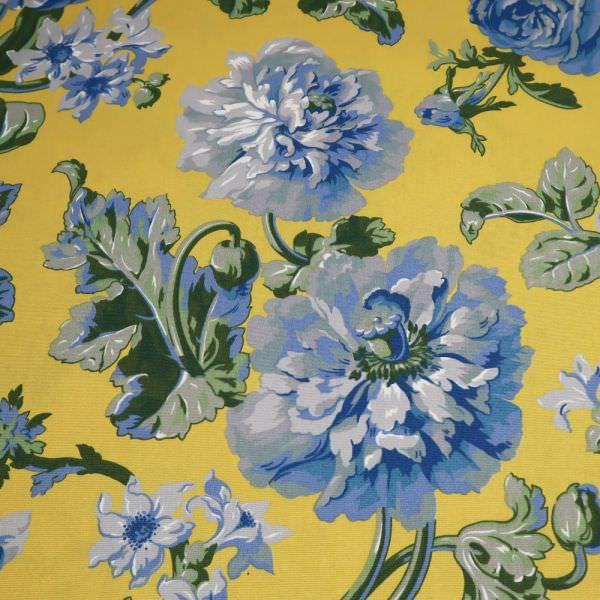 Baumwollstoff Japanische Blumen - senfgelb/hellgrau/blau/olivgrün