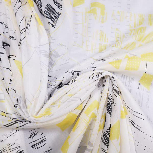 Baumwoll- Voile Abstrakt - weiss/hellgrau/gelb/schwarz