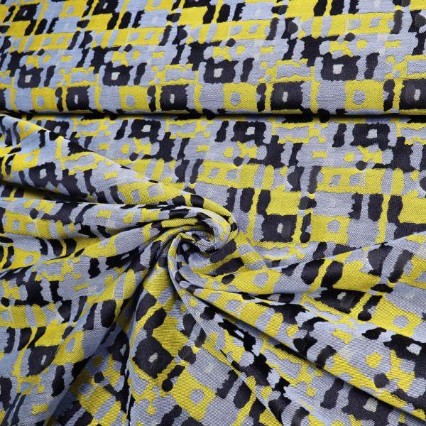 Jacquard Retro - schwarz/gelb/hellblau (Reststück 2,4m)