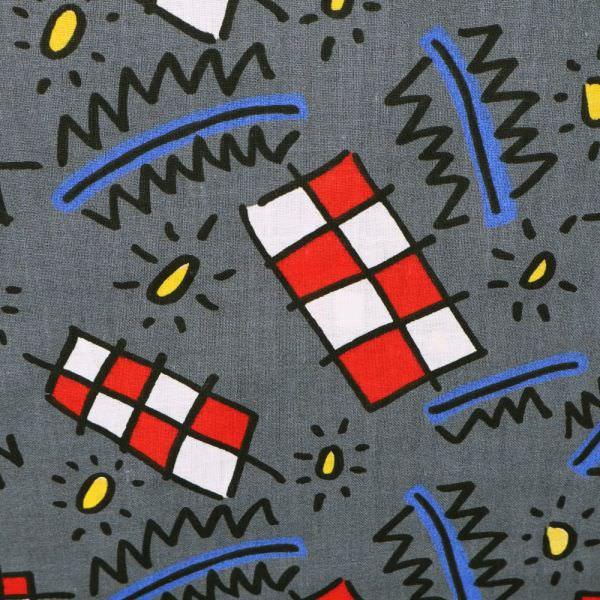 Baumwollstoff mit Kindermotiven - grau/weiss/rot/gelb/blau/schwarz