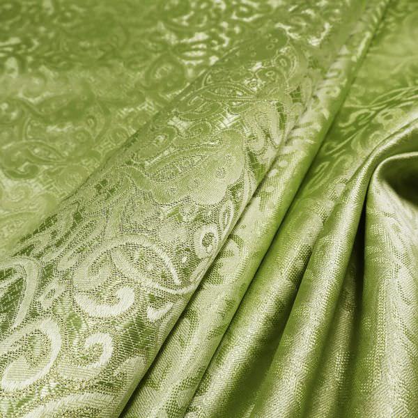 Lurex Jacquard Stoff mit Ornamenten - lindgrün/goldfarbig (Reststück 1,6m)