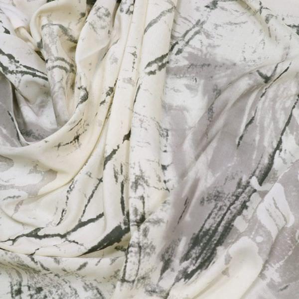 Viskosestoff Marmor-Motiv - wollweiss/grau/anthrazit