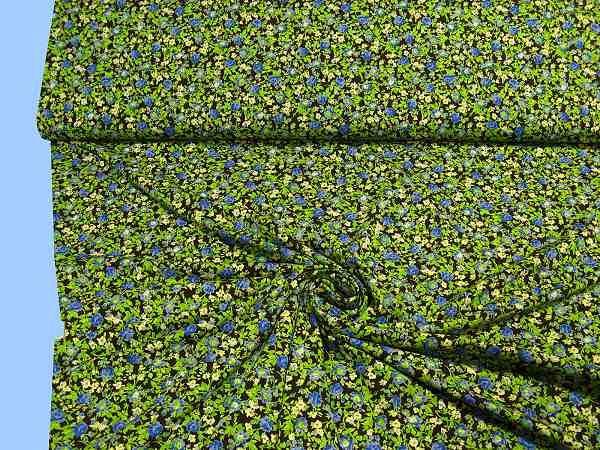 Feinjersey mit Blümchen - dunkelbraun/blau/royalblau/grün/hellgelb
