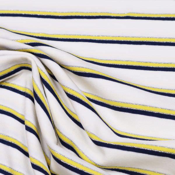 Baumwolljersey Querstreifen & Lurex - weiss/gelb/nachtblau/silber