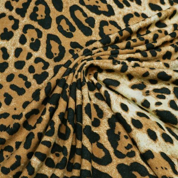 Viskosejersey mit Leoparden-Muster - creme/rehbraun/schwarz
