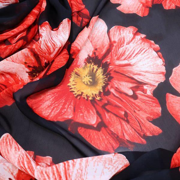 Viskose Chiffon grosse Blumen - schwarz/rot/dunkelrot/gelb/wollweiss