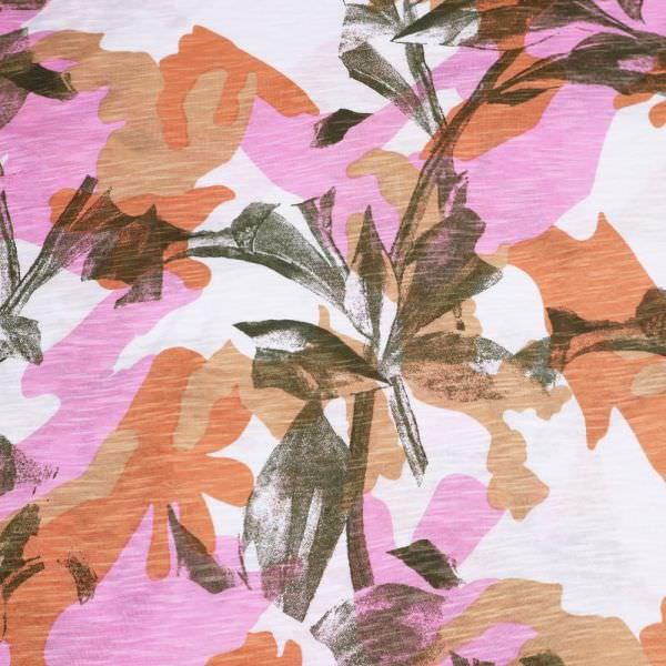Slub Jersey Baumwolljersey Camouflage & Blumen - wollweiss/rosé/terrakotta