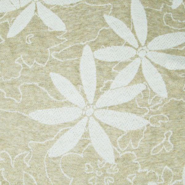 Doubleface Feinstrick-Jersey Blumen - beige/wollweiss