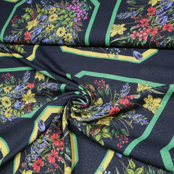 Viskosestoff Blumenstrauß - nachtblau/multicolor (2.Wahl)