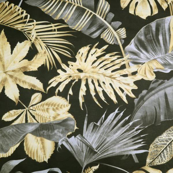 Dekostoff Baumwollstoff tropische Blätter - schwarz/beige/braun/grau Öko-Tex Standard 100