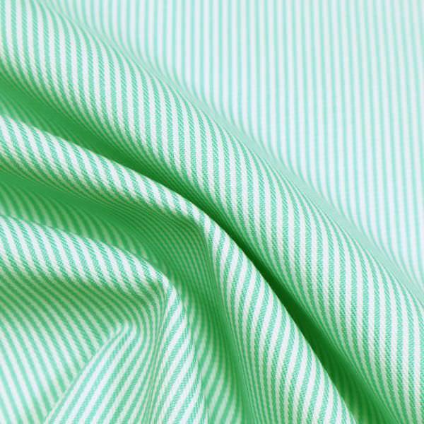Baumwolle-Polyester Mix Streifen - wollweiss/hellgrün