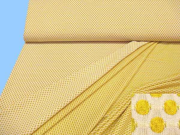 Jersey mit Punkten - weiss/gelb