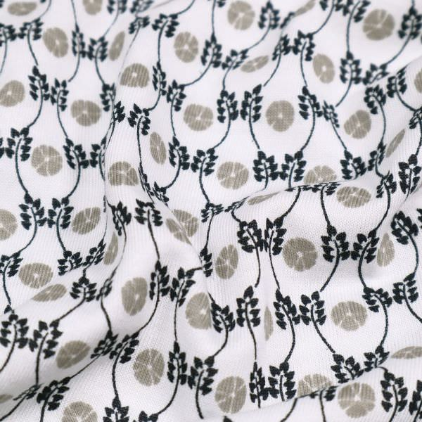 Baumwolle-Modal Jersey mit kleinem Muster - weiss/taupe/schwarz