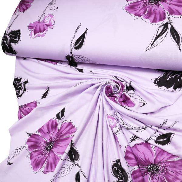 """Baumwolljersey """"Blüte violett """" - flieder/violett/brombeere/schwarz"""