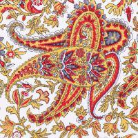 Baumwoll- Twill mit Paisley-Motiv - wollweiss/gelb/rot/grau/schwarz