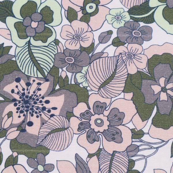 Viskosestoff mit Blumen - wollweiss/rosé/mintgrün/grau/olivgrün (2.Wahl)