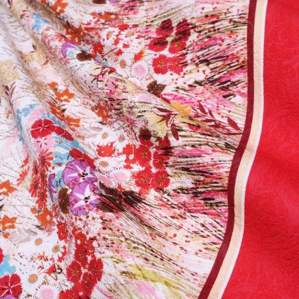 Baumwolle-Polyester-Mix Blumen, Bordüre & Prägedruck - wollweiss/multicolor (Reststück 6,4m)
