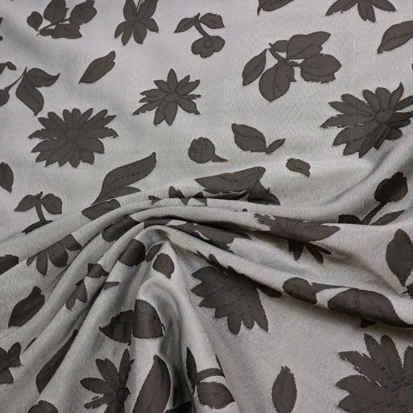 Dekostoff Jacquard Blumen & Blätter - grau/anthrazit
