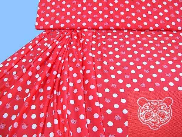 Blusen- und Kleiderstoff mit Punkten&Bären-Motiv - koralle/wollweiss
