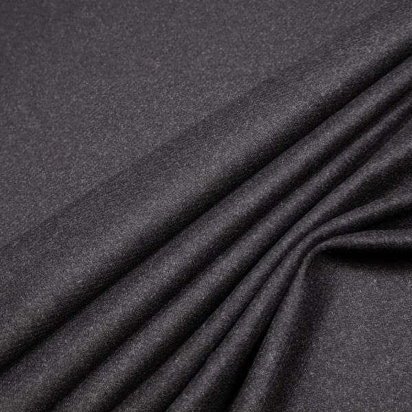 Wollstoff-Mix mit Köperbindung Melange - schwarz/grau