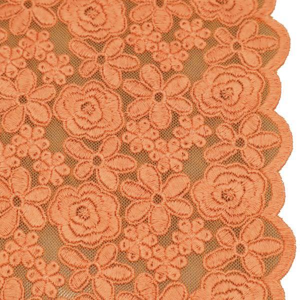 Bogen Tüll- Spitze mit Blumen Stickerei - apricot