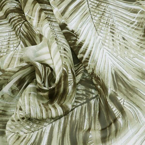 Reine Seide Seidenchiffon Palmenblätter - wollweiss/khaki/schilfgrün