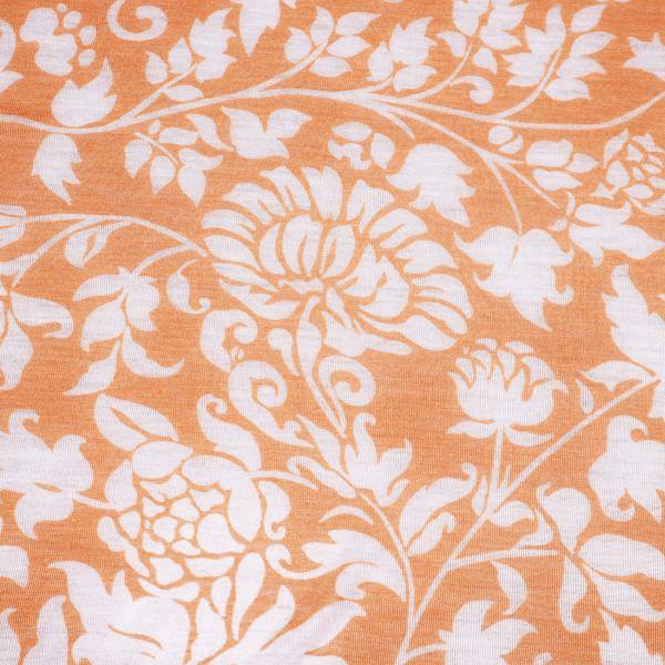 Feinstrick-Jersey Ausbrenner & Blumen - lachs/wollweiss