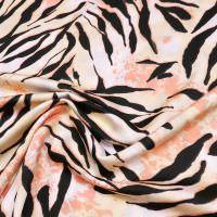 Krepp Satin Tiger - wollweiss/beige/lachs/schwarz (2.Wahl)
