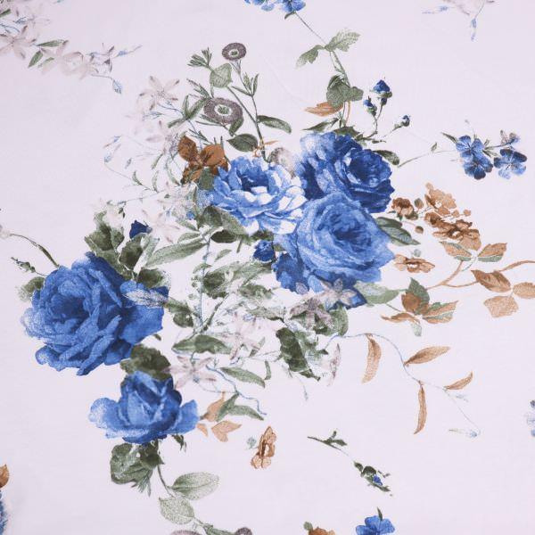 Baumwolljersey blaue Rosen - weiss/blau/dunkelblau/braun Extra breit !