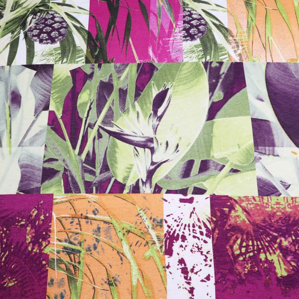 "Viskosejersey ""Tropical Flowers"" - wollweiss/orange/grün/violett"