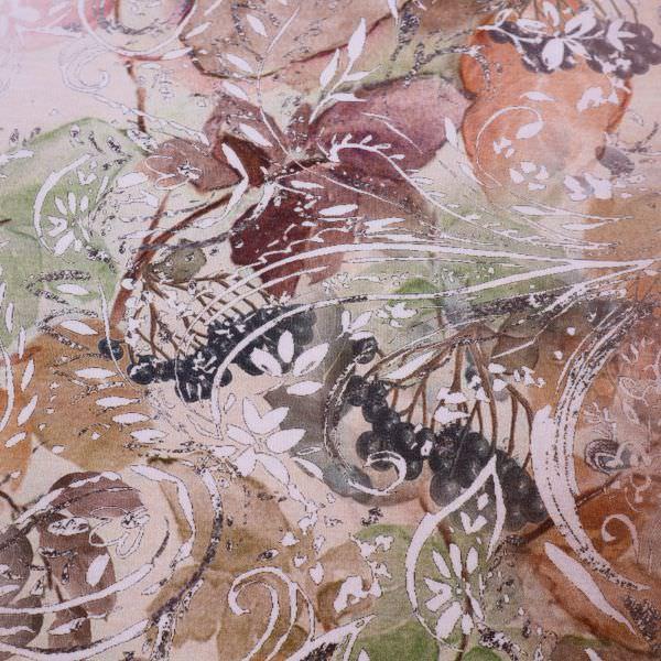 Viskosejersey Beeren & Blätter PANEL - beige/braun/taupe/brombeere/altrosa