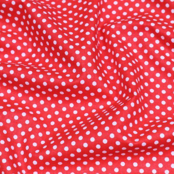 Baumwollstoff mit Punkten - rot/weiss Öko-Tex Standard 100