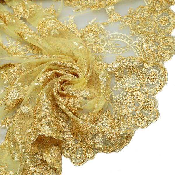 Bogen Tüll- Spitze mit Blumen Stickerei Melange - gelb/goldgelb