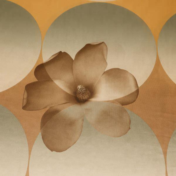 Satin-Jersey Blumen & Retro-Motiv - beige/goldgelb/khaki/braun